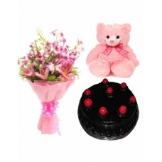 Half Kg Chocolate Cake With Orchid N Teddy